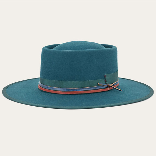 Green Mens Wide Brim Felt Fedora Hat With Flat Brim