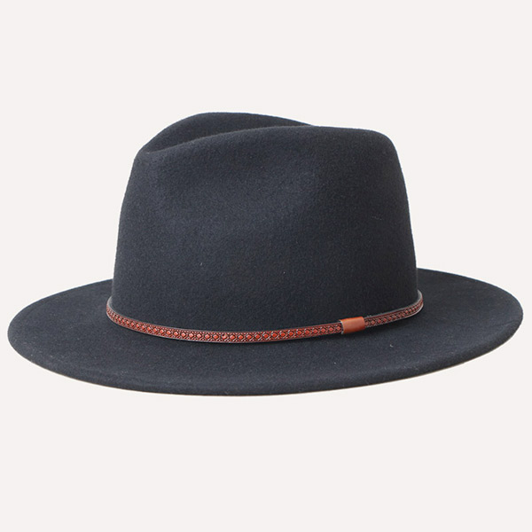 Mens Black Wide Brim Hipster Fedora Hat For Guys