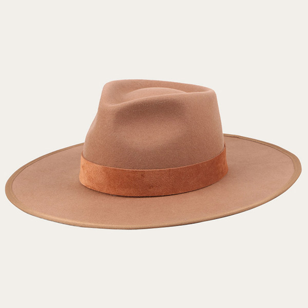 Large Brim Fedora Beige Extra Wide Brim With Suede Band