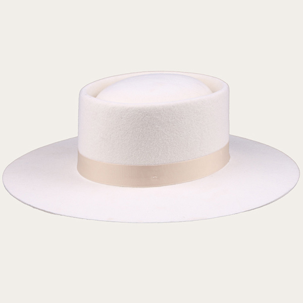 Off White Wide Brim Fedora Hat With a Ribbon