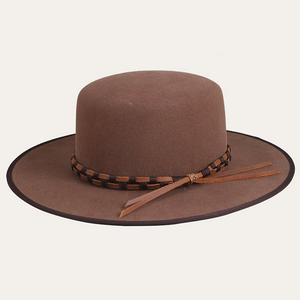 Mens Brown Fedora Wide Brim Bowler Felt Hat With Leather Band