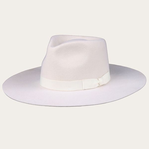 Mens White Fedora Hat With Bow Ribbon Wool Felt Wide Brim Hat