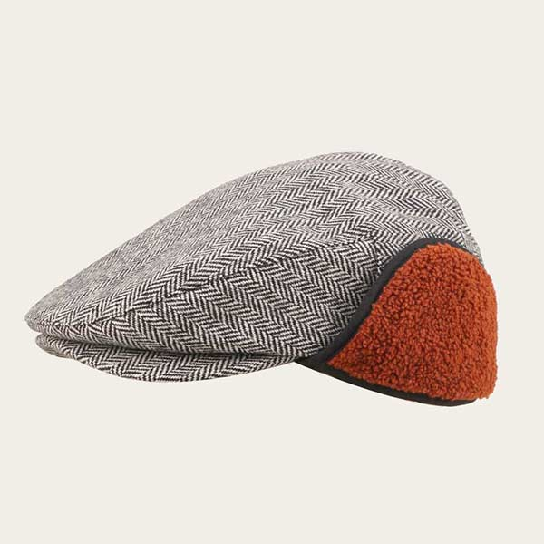 Mens Ivy Cap With Ear Flaps Herringbone Flat Cap