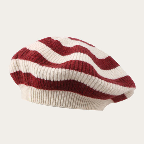 Slouchy Beret Womens Oversized Knitted Stripe Beret Hat