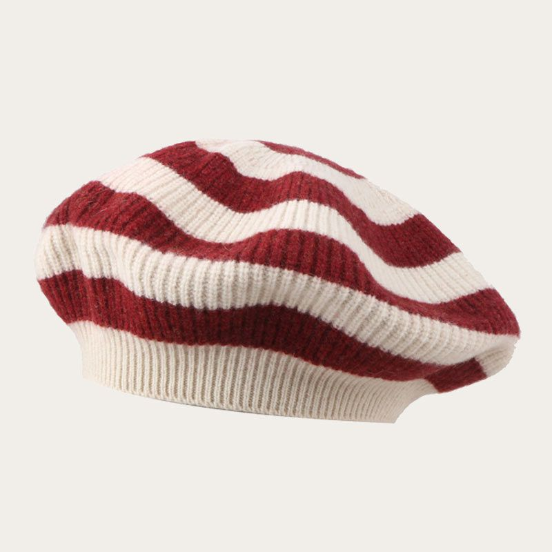 Oblique View of Womens Knitted Slouchy Stripe Beret Hat