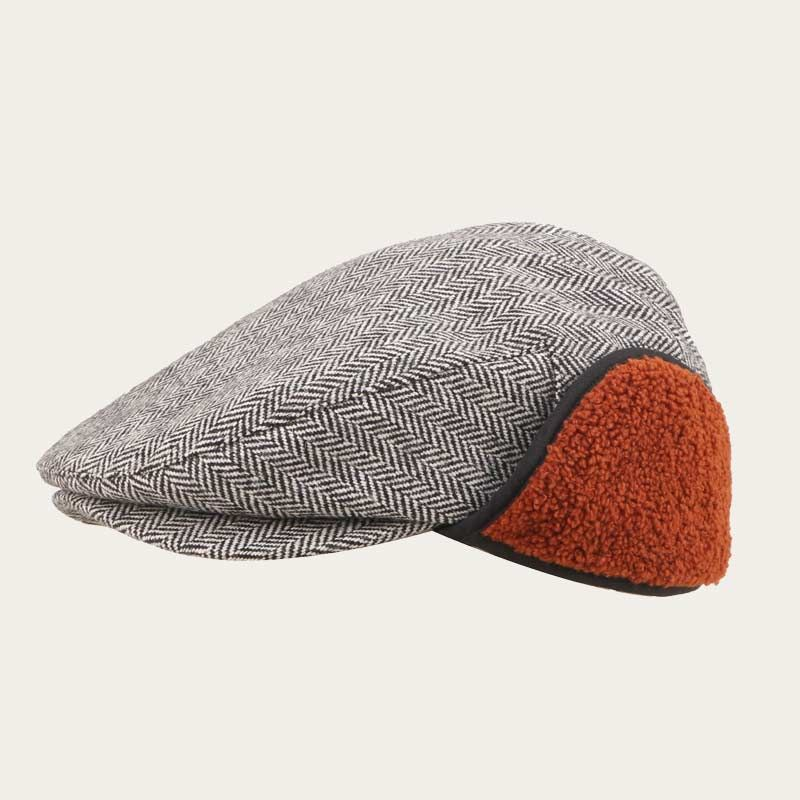 oblique view of mens herringbone ivy cap with ear flaps