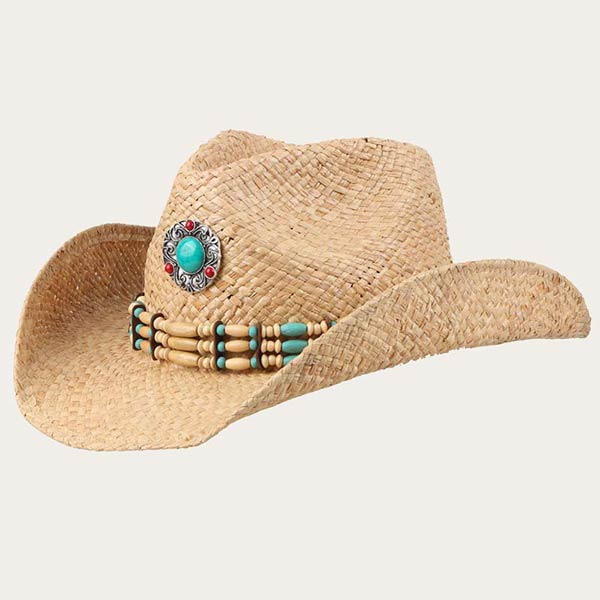 Beige Straw Cowgirl Hat With Bling Raffia Straw Material