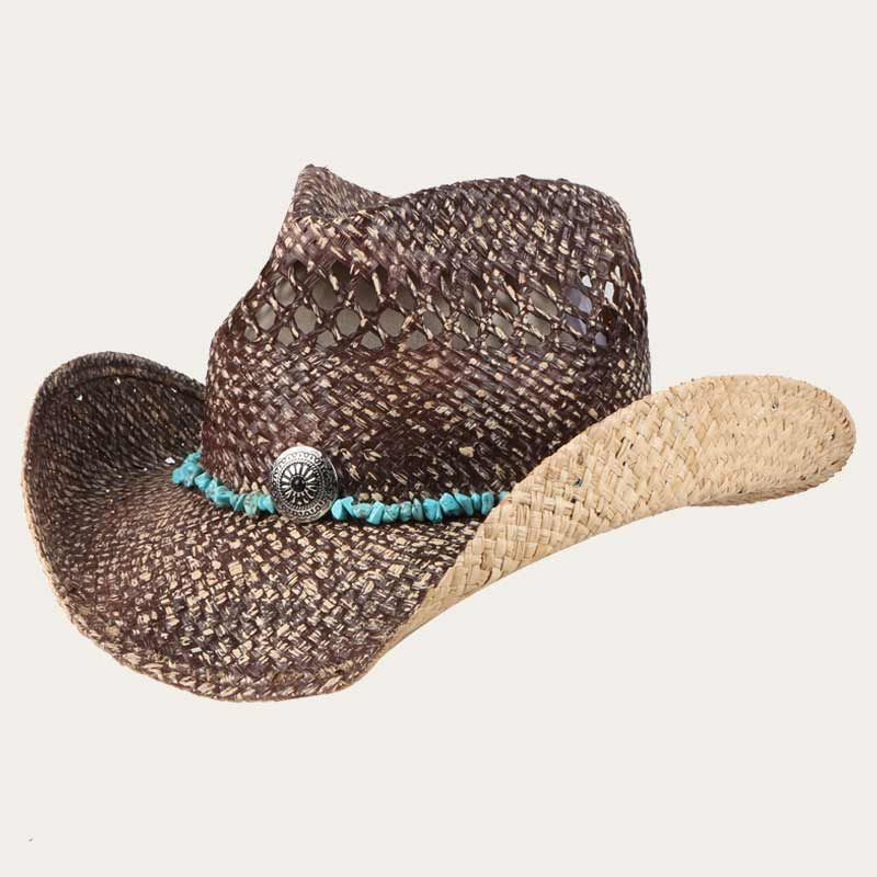 oblique view of 5 inch brim straw cowboy hat with vented crown