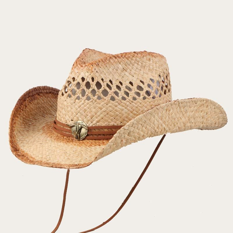 oblique view of wide brim straw cowboy hats with vented crown