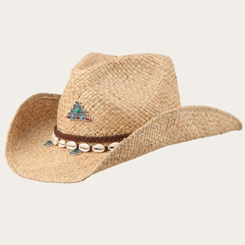 oblique view of beige mens straw cowboy hats