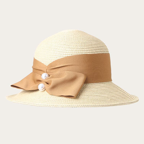 Girls Straw Hat For Toddlers With Bowknot Ribbon PP+Paper Straw Material