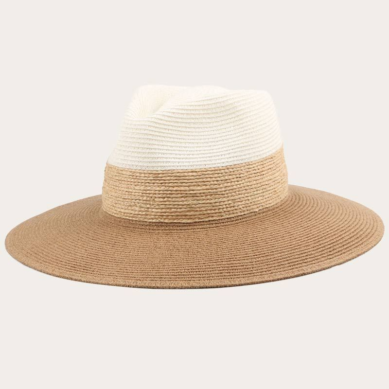oblique view of wide brim straw beach hat