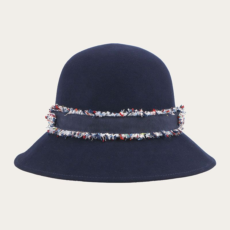 side view of womens wool navy fedora hat