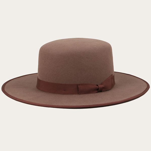 Mens Flat Brim Fedora Brown Wide Brim Hat With Brown Bowknot