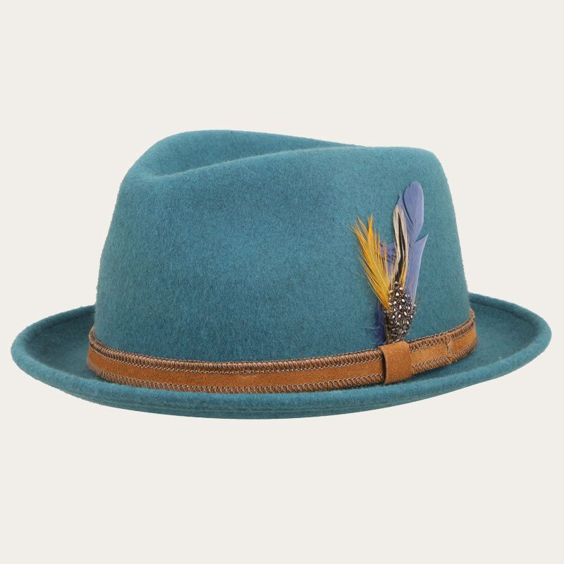 oblique view of short brim green fedora hat with suede hatband and feather