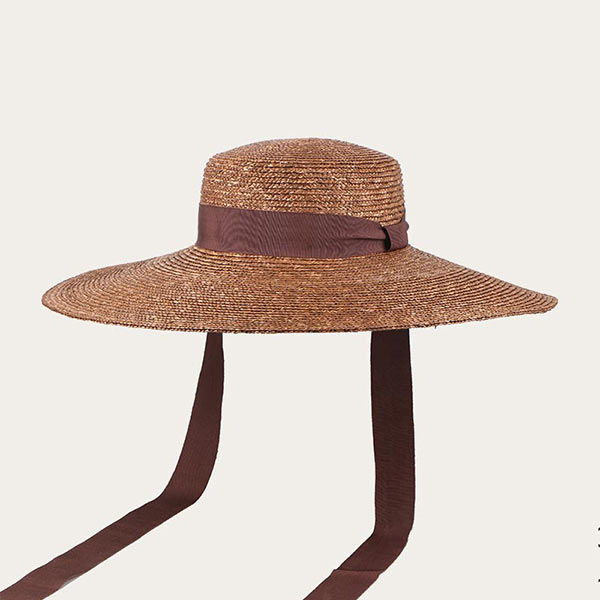 Oversized Large Brim Straw Hat With Chin Strap Wheat Straw Braid Material