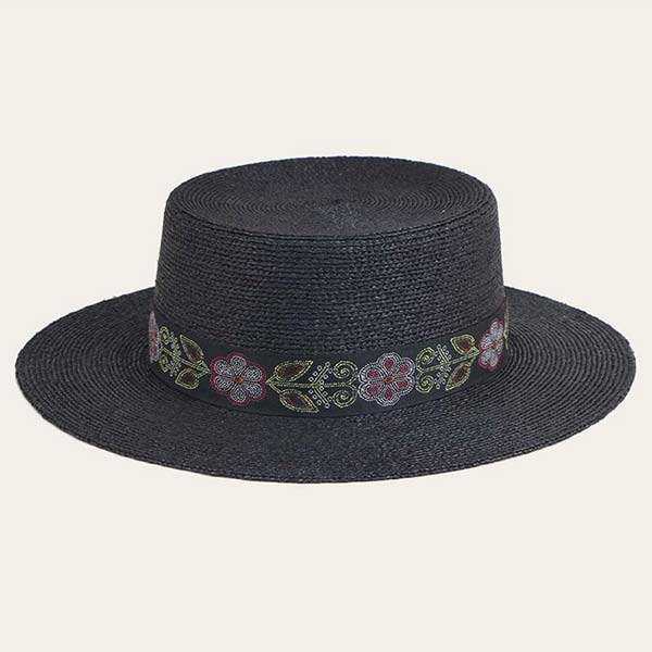 Wide Brim Black Straw Boater Hat With Black Ribbon For Men