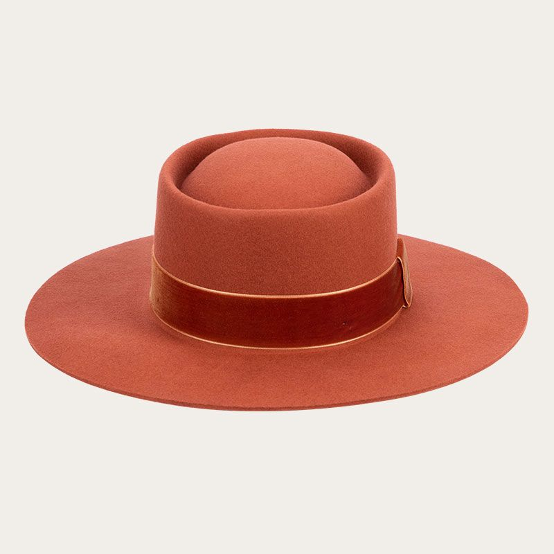 front view of orange fedora with wide ribbon