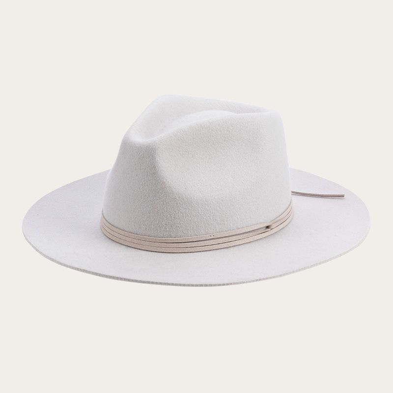 oblique view of all white fedora hat with decorative ribbon