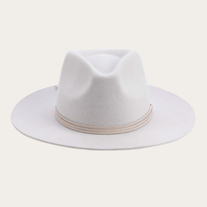 front view of all white fedora hat with decorative ribbon