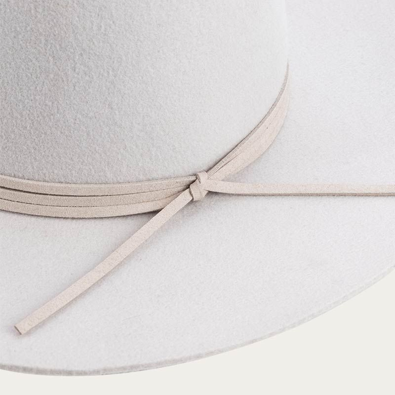 decorative ribbon of all white fedora hat