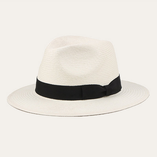 Mens White Straw Hat Panama Material Fedora Hat With Black Hatband