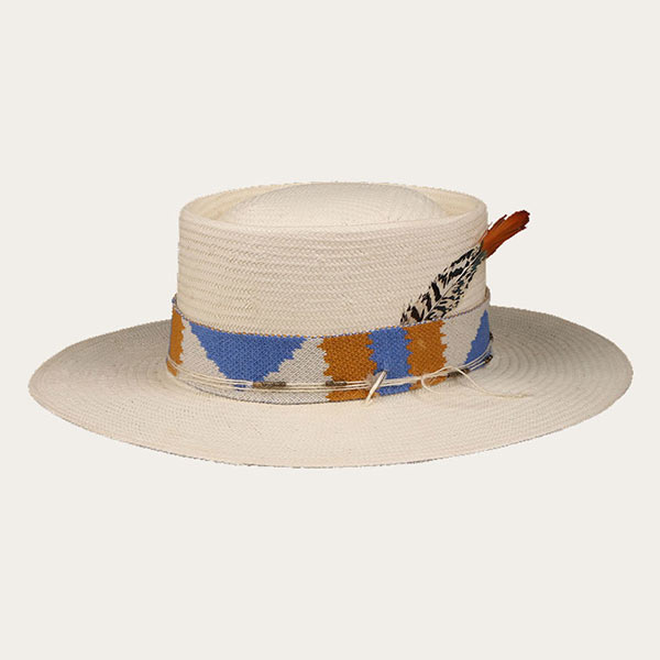 Paper Straw Hat Off White Pork Pie Style Hat With Feather