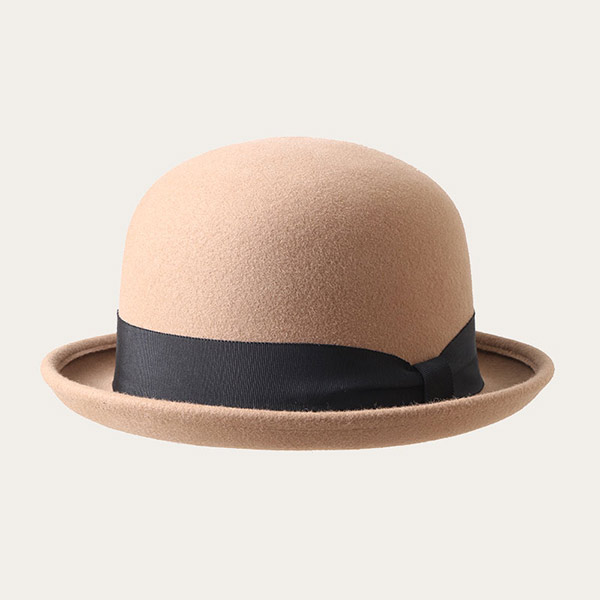 Women's Bowler Hat Camel Color Wool Felt Derby Hat With Black Ribbon