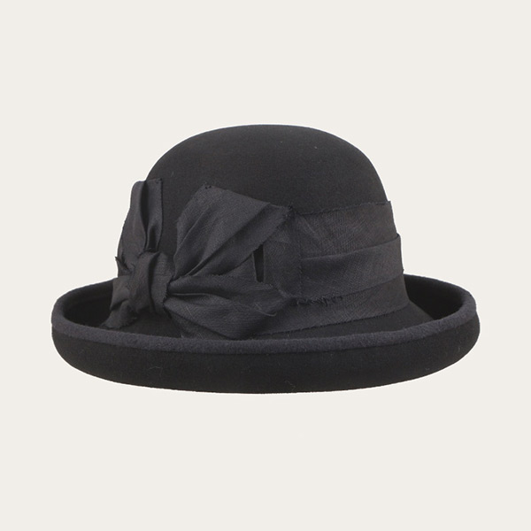 Black Wool Felt Bowler Hat With Black Bowknot For Ladies & Womens
