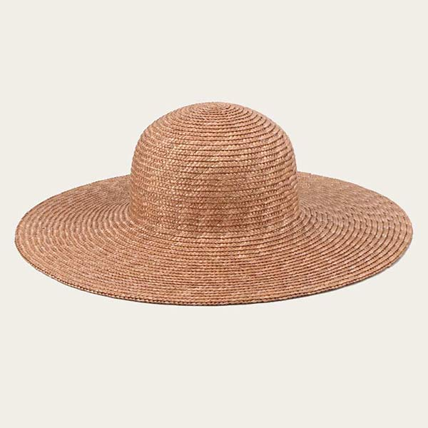 Brown Round Straw Hat With Flat Round Brim Wheat Straw Braid