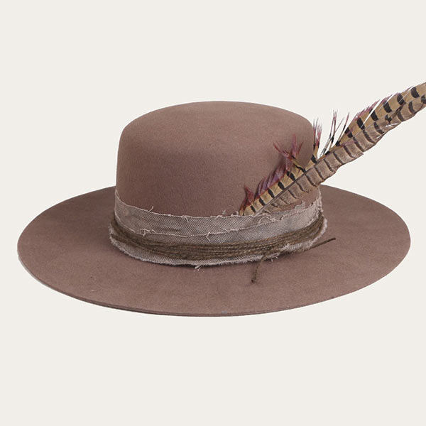 Mens Brown Felt Flat Wide Brimmed Bowler Hat With Hatband & Feather