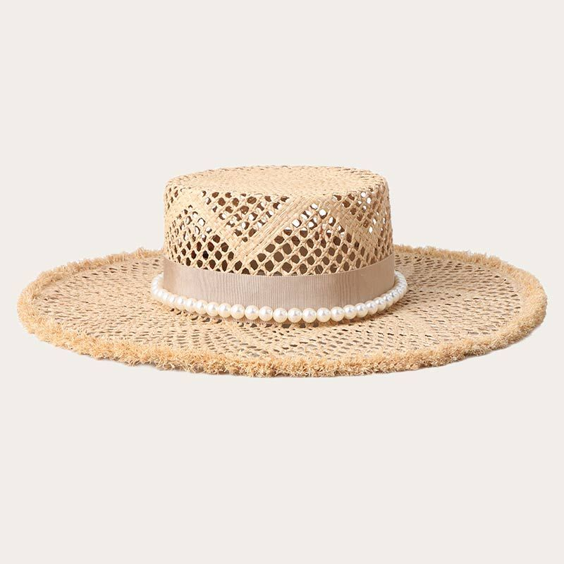 oblique view of vented wide brim straw boater hat with bead around crown