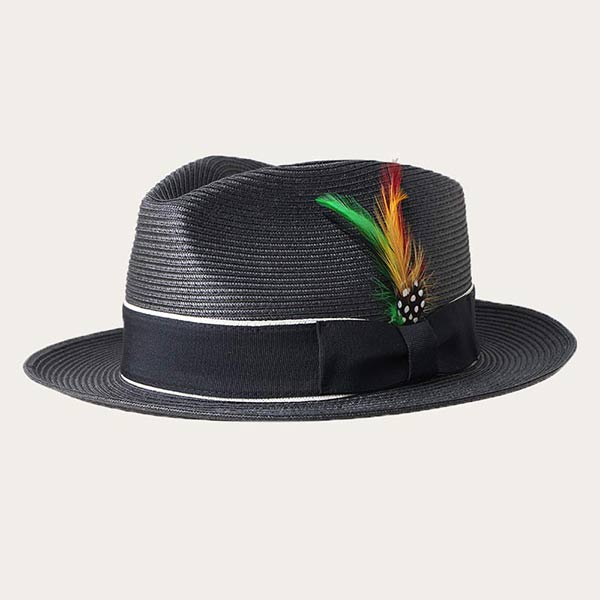Mens Black Straw Hat With Feather Fedora Style PP Braid Material