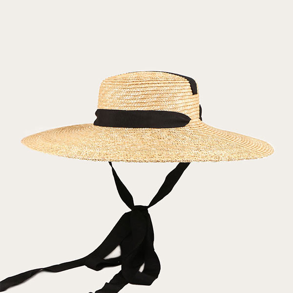 Straw Hat With String Women's Floppy Wide Brim Beach Hat