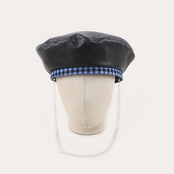 Black Leather Beret Hat With Blue Plaid Trim & Chin String For Women