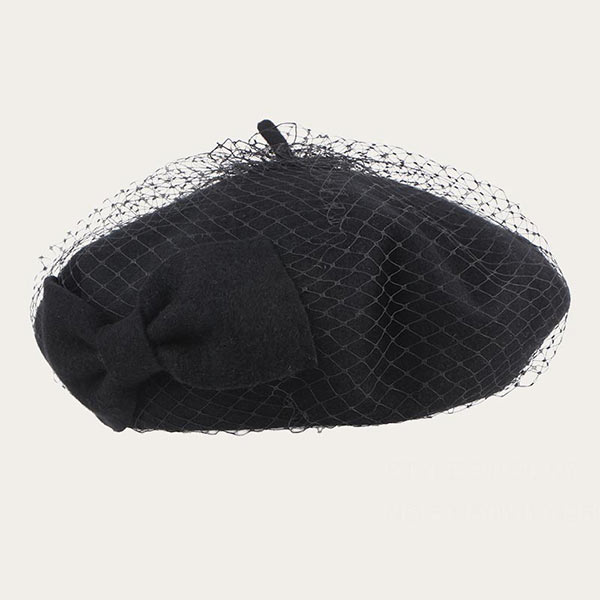 100% Wool Womens Black Beret Hat With Black Veil & Bowknot
