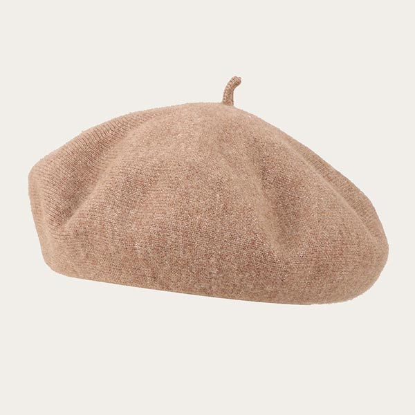 Knitted Solid Color Tan Beret Hat For Women 100% Wool Yarn