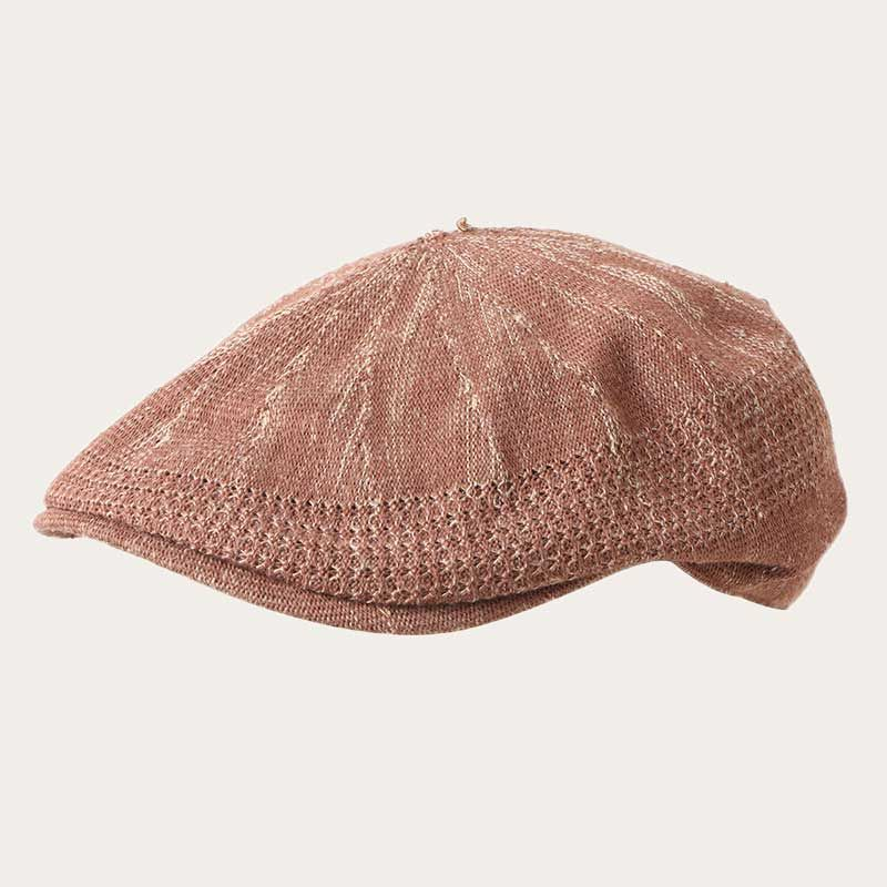 oblique view of tan cotton yarn summer ivy cap