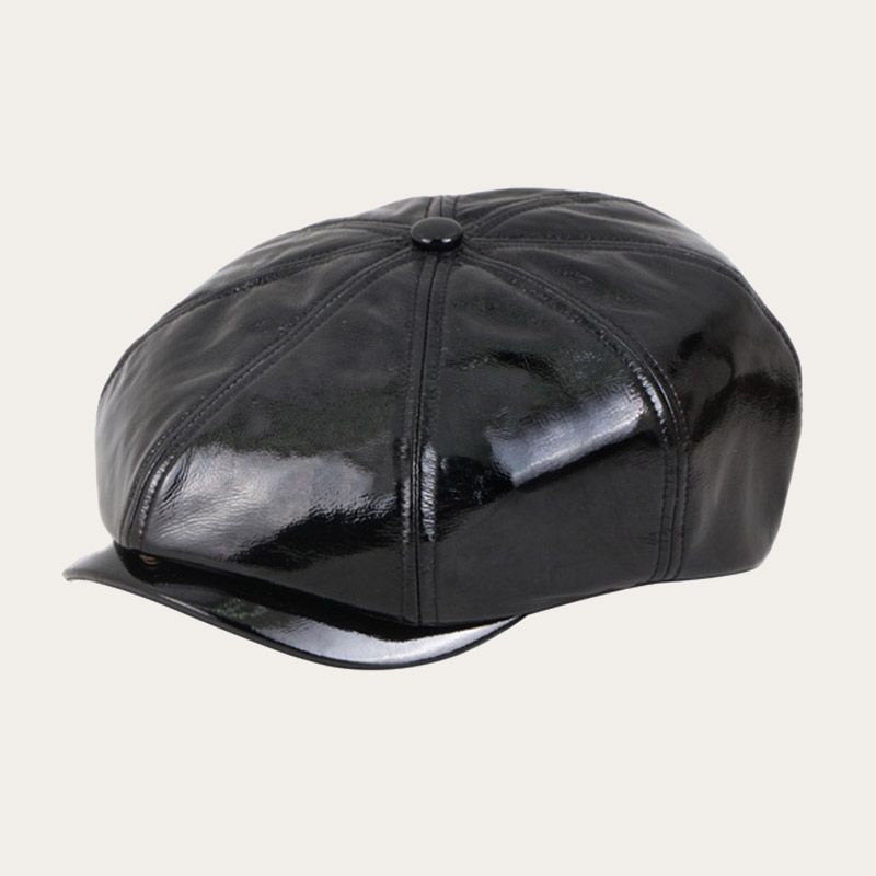oblique view of black leather newsboy cap