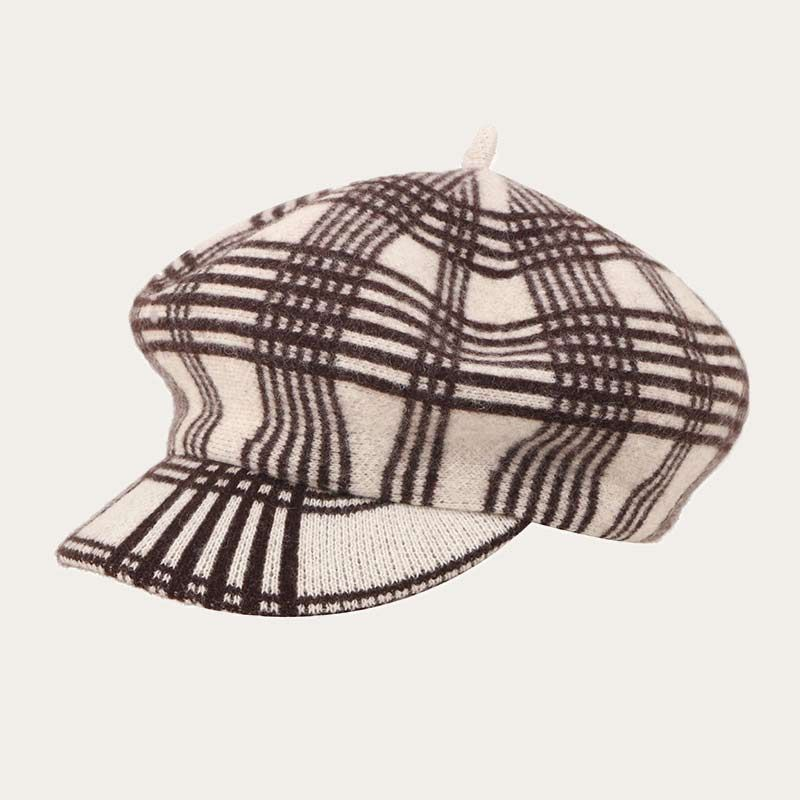 oblique view of yellow pinstriped womens crochet newsboy hat