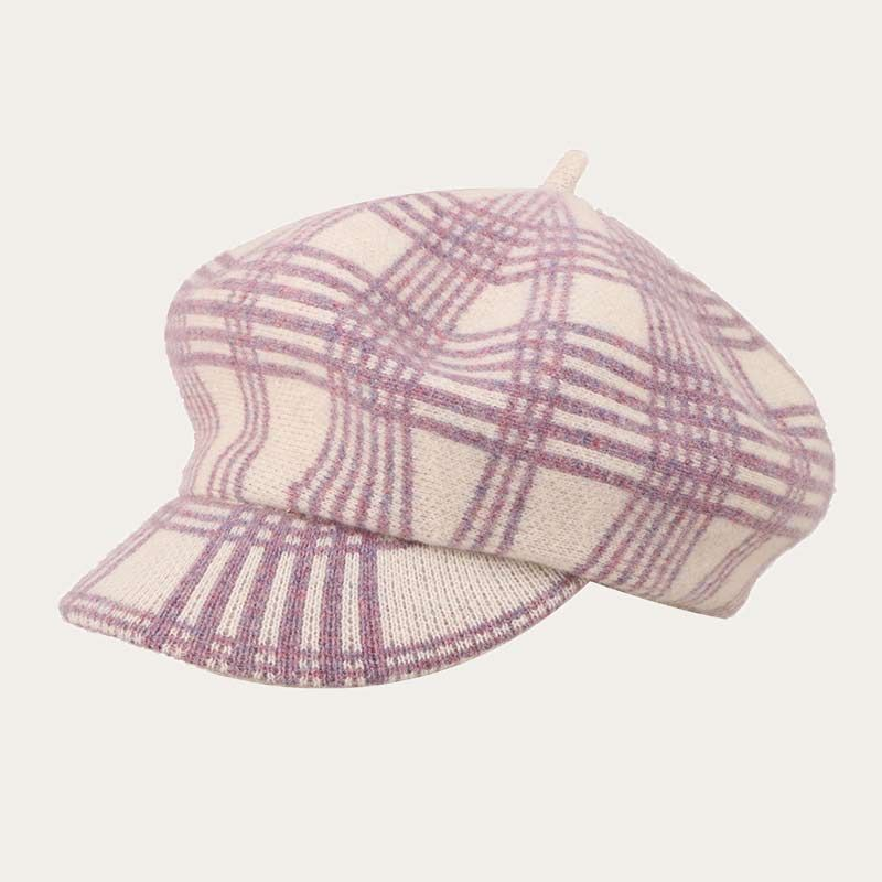 oblique view of brown pinstriped womens crochet newsboy hat