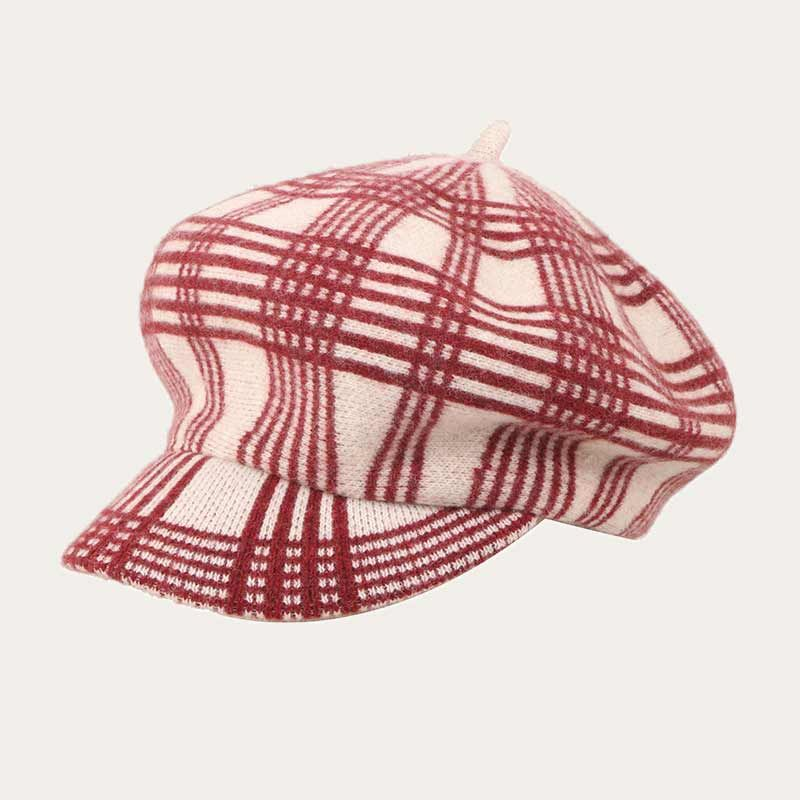 oblique view of purple pinstriped womens crochet newsboy hat