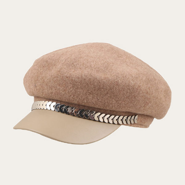 Knitted Wool Beret With Leather Brim For Womens