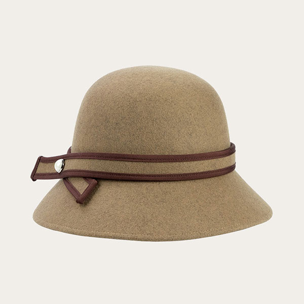 Khaki Girls Fedora Hat Womens Wool Bucket Cloche Floppy Hat