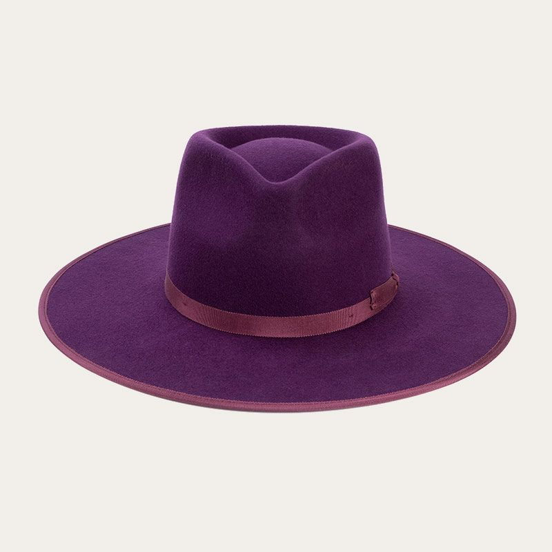 front view of mens purple wide brim wool fedora