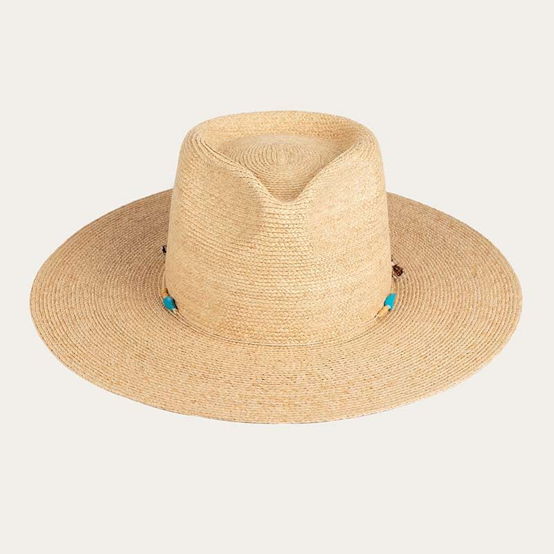 front view of wide brim mens straw sun hat