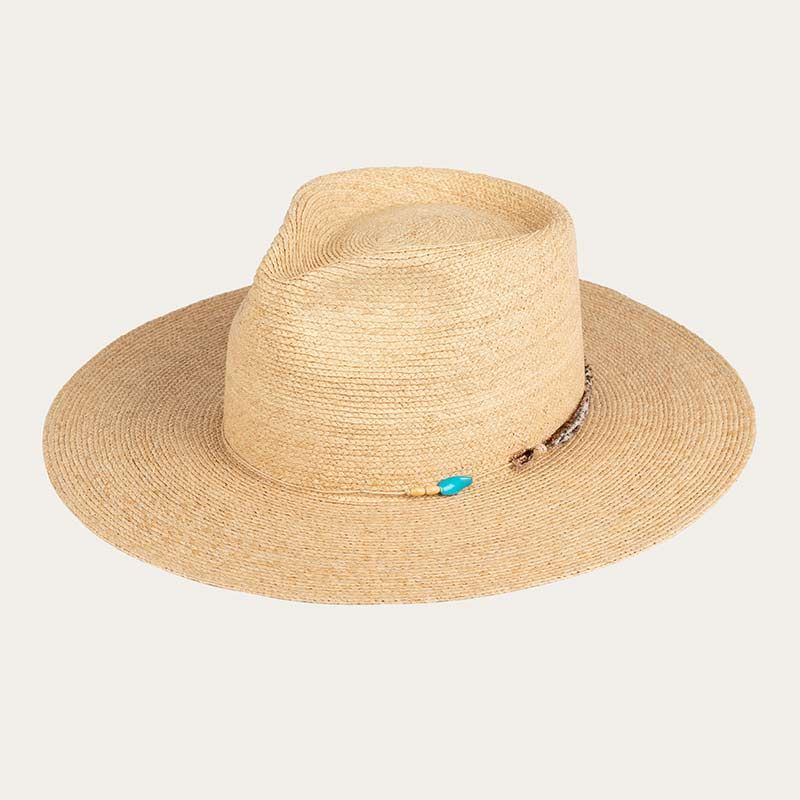 oblique view of wide brim mens straw sun hat