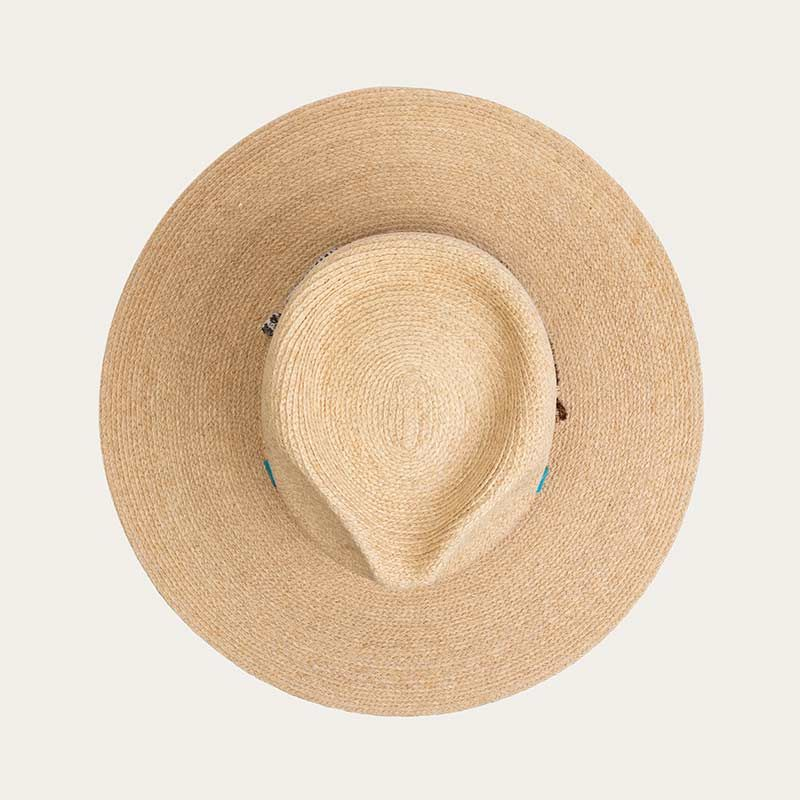 top view of wide brim mens straw sun hat