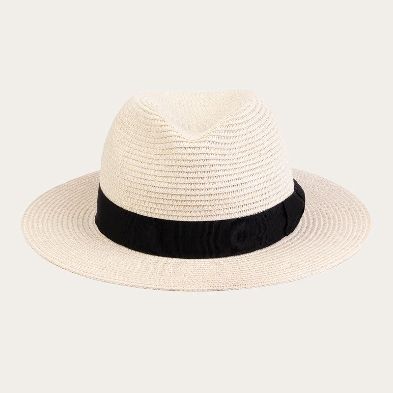 front view of ladies white wide brim straw fedora hat with black ribbon