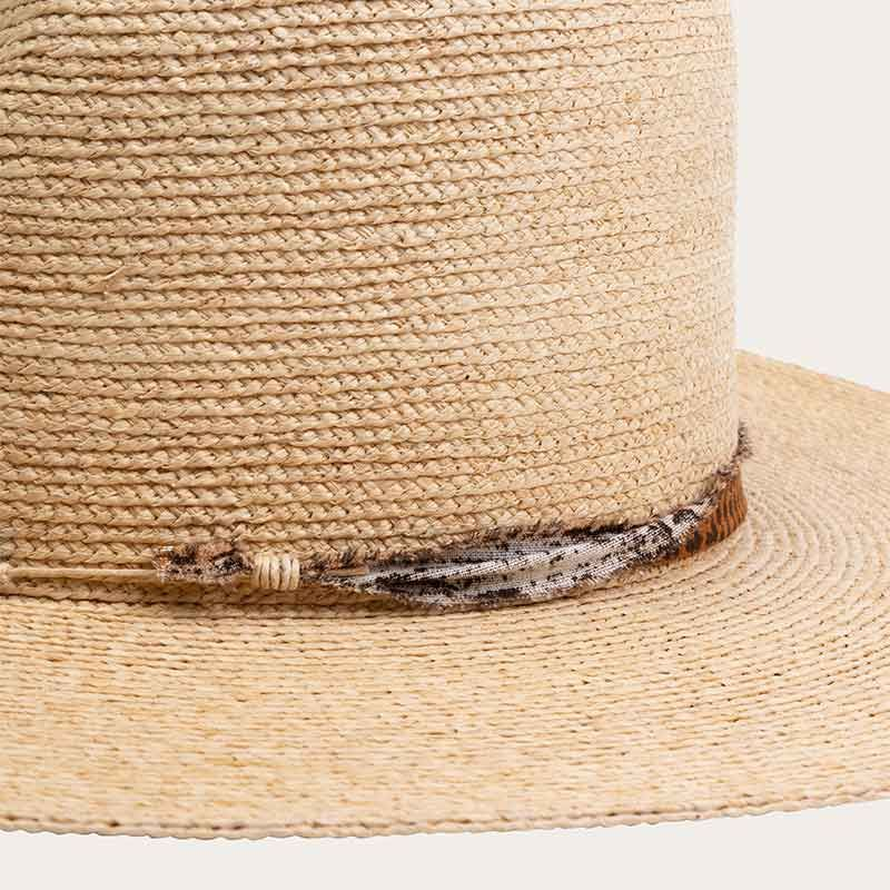 detail of wide brim mens straw sun hat
